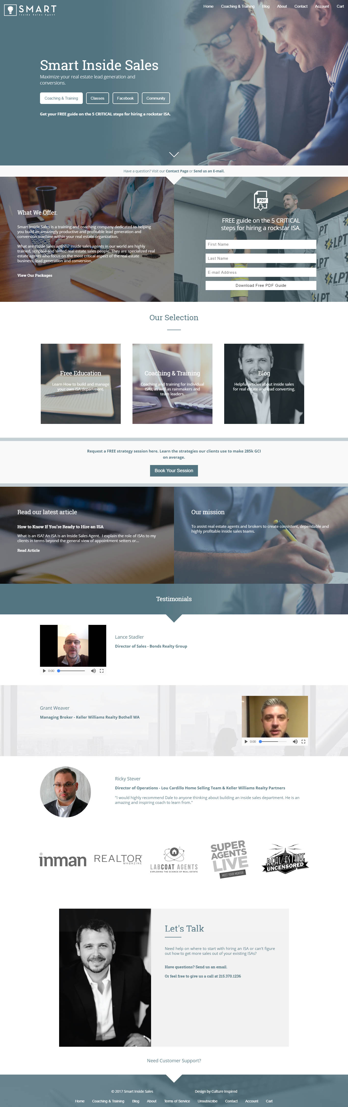 Smart Inside Sales Web Design Example
